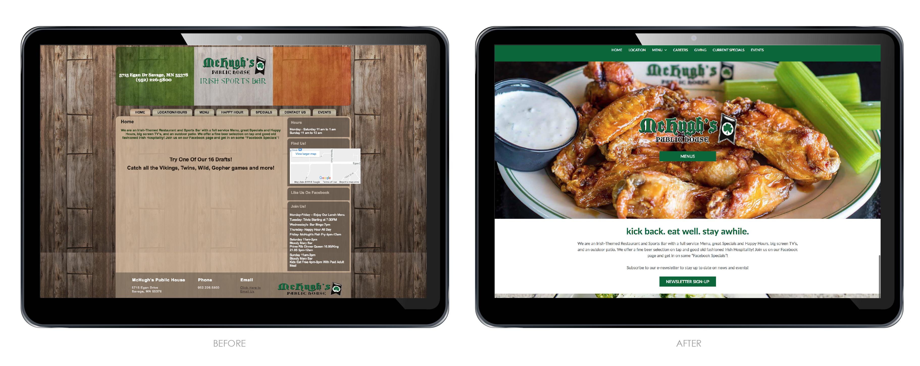 McHughs Public House Restaurant Website Redesign